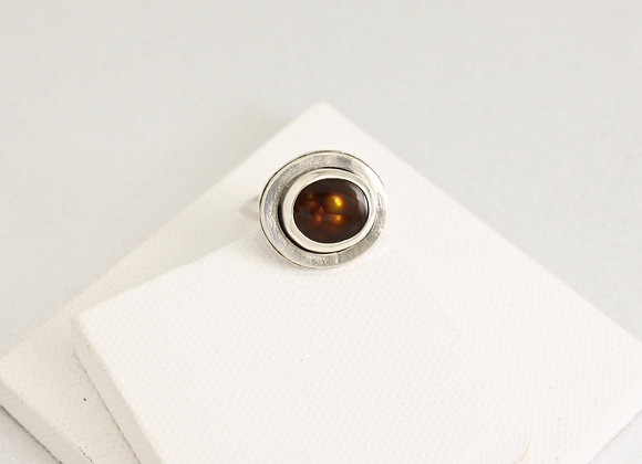 Mexican Fire Agate and sterling silver ring, size 8