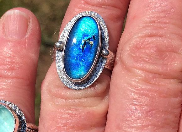 Spectrolite ring in sterling silver
