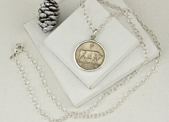 Irish schilling coin pendant on sterling 21 inch chain