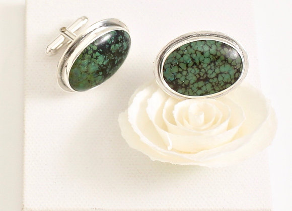 Turquoise and Sterling silver cufflinks green