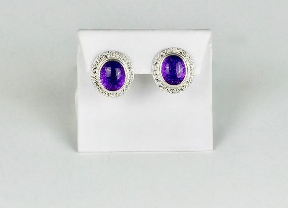 Amethyst post omega clip sterling earrings