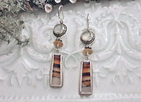 Montana Agate and Prehnite Earrings