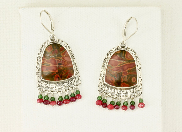 Red Creek Jasper shield with Ruby and Jade earrings
