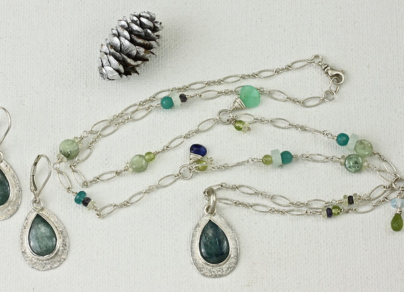 Green Kyanite earrings/necklace combination in SS