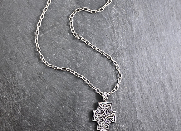 Fahan Mura Celtic Crosson 18 inch sterling chain