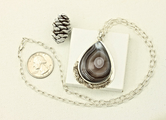 Botswana Agate Pendant on 21 inch sterling chain