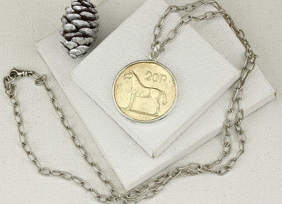 Irish 20P Brass Horse Coin with 21 inch sterling chain