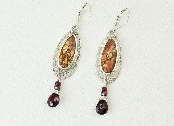 Red Creek Jasper teardrop earrings with garnet