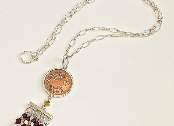 1 Pence Coin Necklace with Garnet