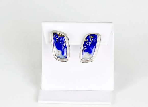 lapis omega clip earrings in sterling/fine silver