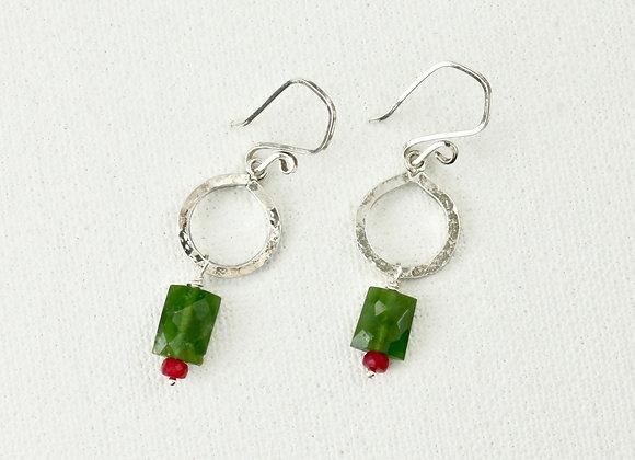 Sterling hoops with vesonite, ruby earrings