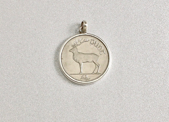 Irish 1Punt Stag Coin pendant