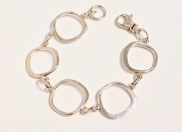 Sterling trapezoid link bracelet, 8 inch length