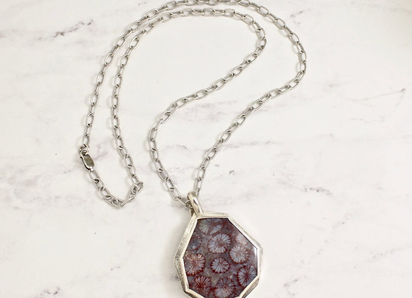 Fossil Coral Necklace, with 21 inch sterling chain