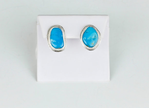 Turquoise post earrings in sterling/fine silver w omega
