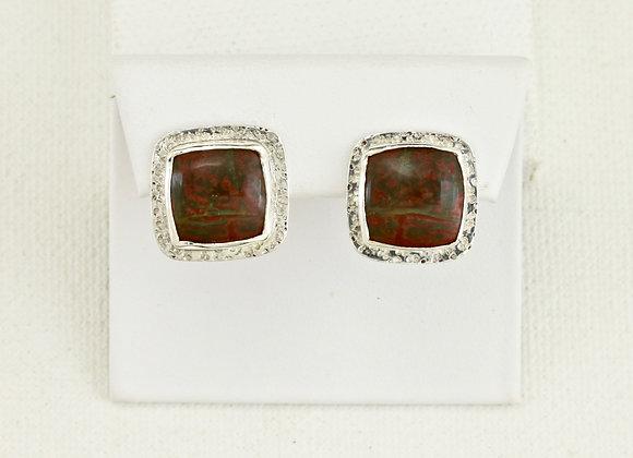 Red Creek Jasper square Sterling post earrings w omega clasp