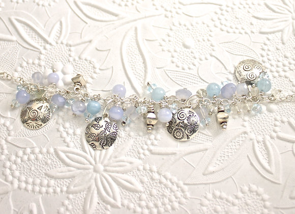 Aquamarine & blue chalcedony Charm Bracelet