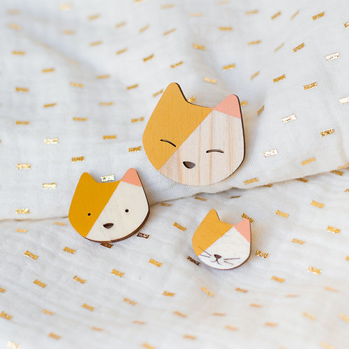 Broche Chat Ocre