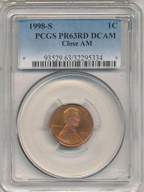 1998-S 1c Close AM; PCGS PF-63 DCAM