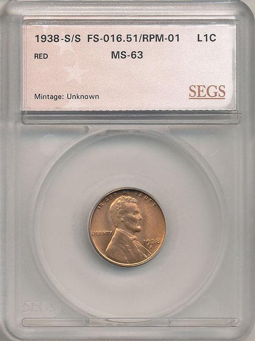 1938-S/S 1c RPM-001/FS-501 SEGS MS63 Red