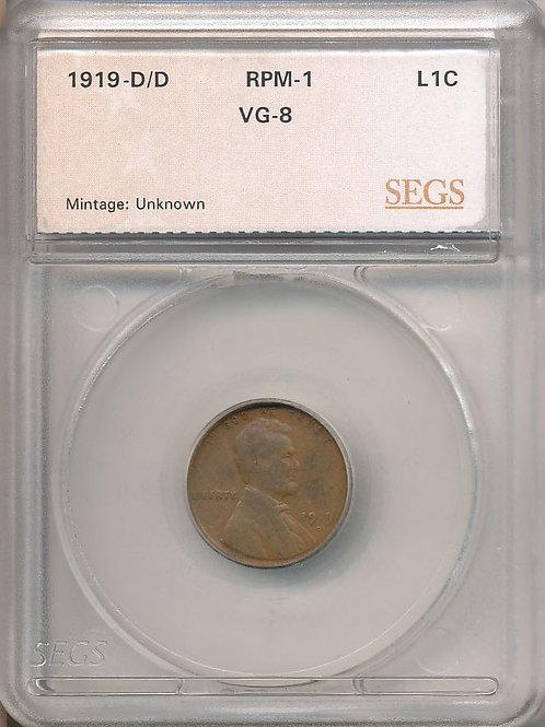 1919-D/D 1c RPM-001/WRPM-001 SEGS VG-08