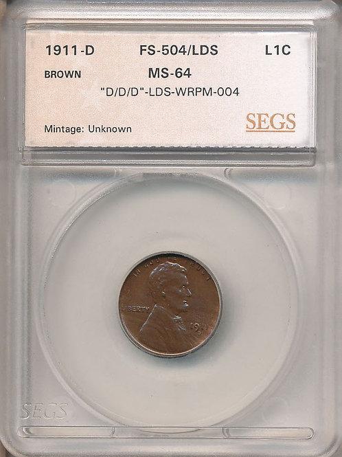 1911 D/D  1c RPM-004/WRPM-004/FS-504 - SEGS MS64 BN