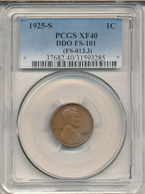 1925-S 1c DDO FS-101 PCGS XF-40