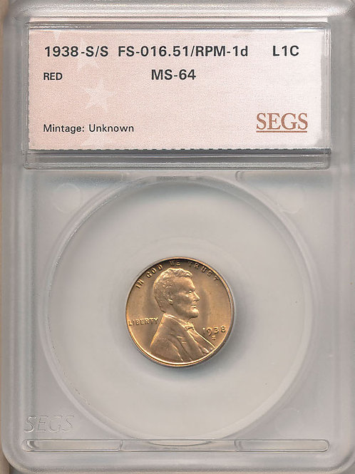 1938-S/S 1c RPM-001/FS-501 SEGS MS64 Red