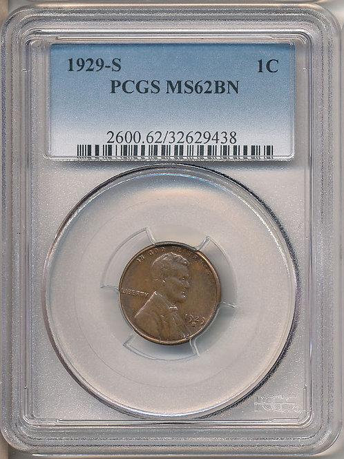 1929-S 1c PCGS MS62 Brown