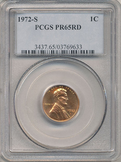 1972-S 1c PCGS Proof-65 Red