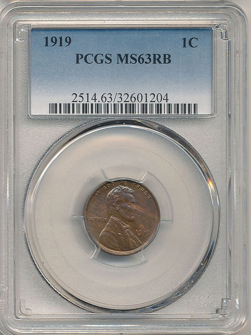1919 1c PCGS MS63 Red & Brown