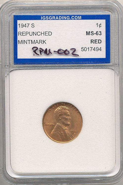 1947-S/S 1c RPM-002 IGSgrading MS63 Red