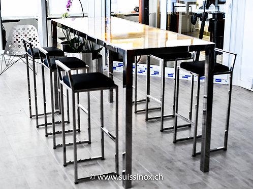 Table rétro-éclairé en Inox poli & Onix