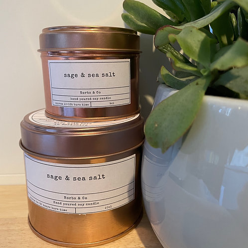 Sage & Sea Salt Wooden Wick Soy Wax Candle | Vegan | Natural | Plastic Free | Ec
