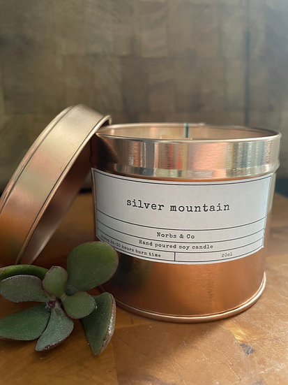 Silver Mountain Wooden Wick Soy Wax Candle | Vegan | Natural | Plastic Free | Ec