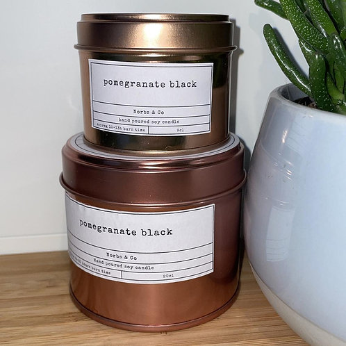 Pomegranate Black Wooden Wick Soy Wax Candle Vegan, Natural and Plastic Free