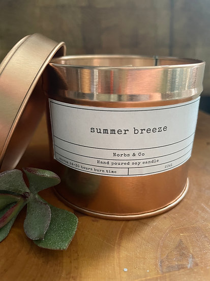 Summer Breeze Wooden Wick Soy Wax Candle   Vegan   Natural   Plastic Free   Eco