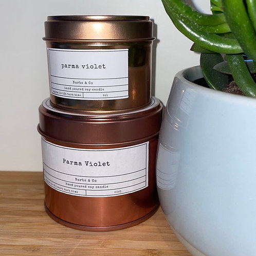 Parma Violet Wooden Wick Soy Wax Candle Vegan, Natural and Plastic Free