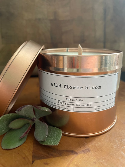 Wild Flower Bloom Wooden Wick Soy Wax Candle | Vegan | Natural | Plastic Free |