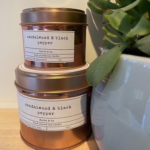 Sandalwood & Black Pepper Wooden Wick Soy Wax Candle | Vegan | Natural | Plastic