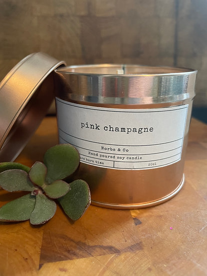 Pink Champagne Wooden Wick Soy Wax Candle | Vegan | Natural | Plastic Free | Eco