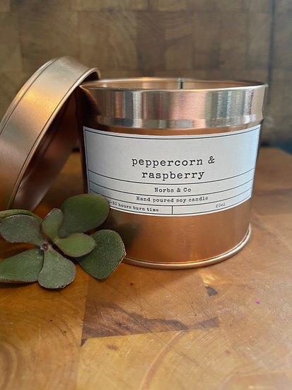 Peppercorn & Raspberry Wooden Wick Soy Wax Candle   Vegan   Natural   Plastic Fr