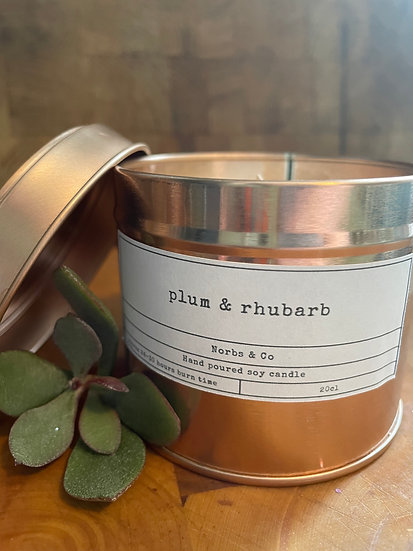 Plum & Rhubarb Wooden Wick Soy Wax Candle   Vegan   Natural   Plastic Free   Eco