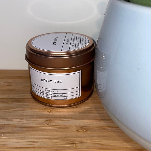 Green Tea Wooden Wick Soy Wax Candle Vegan, Natural and Plastic Free