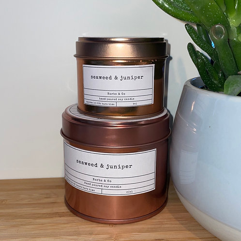 Seaweed & Juniper Wooden Wick Soy Wax Candle Vegan, Natural and Plastic Free