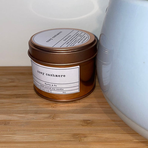 Cosy Cashmere Wooden Wick Soy Wax Candle Vegan, Natural and Plastic Free