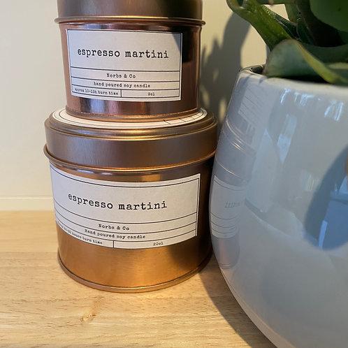 Espresso Martini Wooden Wick Soy Wax Candle   Vegan   Natural   Plastic Free   E