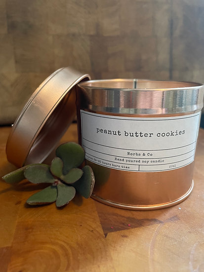Peanut Butter Cookie Wooden Wick Soy Wax Candle Vegan, Natural and Plastic Free