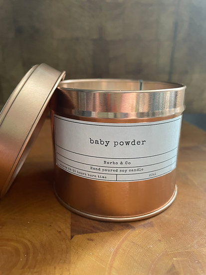 Baby Powder Wooden Wick Soy Wax Candle   Vegan   Natural   Plastic Free   Eco Fr