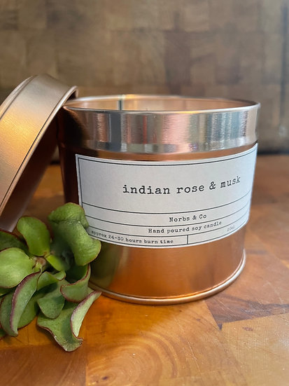 Indian Rose & Musk Wooden Wick Soy Wax Candle   Vegan   Natural   Plastic Free  